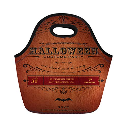 Semtomn Lunch Tote Bag Orange Vintage Halloween Party Label Classic October Announcement Bat Reusable Neoprene Insulated Thermal Outdoor Picnic Lunchbox for Men Women ()