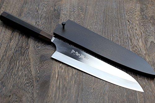 Yoshihiro High Speed Stainless Steel Gyuto Chefs Knife Octagonal Ebony Handle (8.25 - 210mm) by Yoshihiro