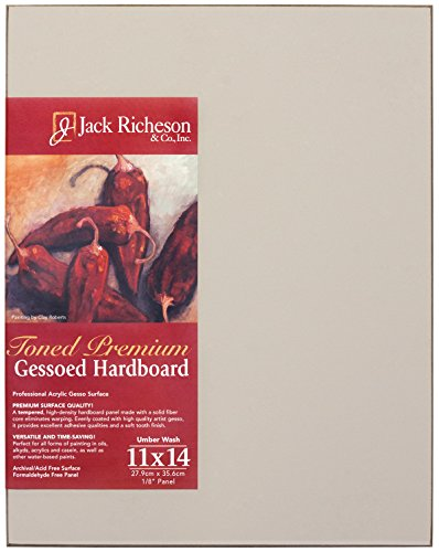 Jack Richeson 1711114 Richeson Umber Wash Gessoed 1/8'' Hardboard 11''x14'' by Jack Richeson