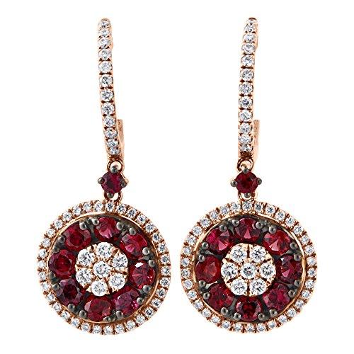 (18K Rose Gold Red Ruby & Round Cut Diamond Flower Cluster Halo Dangler Hoop Earrings 1.87 Cttw)