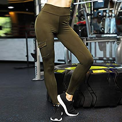 Lady Leggings,Women Elastic Yoga Leggings Bamboo Fiber Sports Hips Up Long Pants with Pockets Color:Army Green,Black