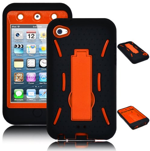 Case New I&t - Bastex Heavy Duty Hybrid Case for Apple Ipod touch 4 - Black Silicone / Orange Hard Shell with Kickstand