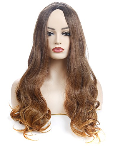 "Price comparison product image Morvally 26"" Long Wavy Straight Dark Roots Ombre Highlights Wigs Natural Looking Brown Heat Resistant Hair for Women Daily Wear Wig"