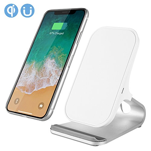 OfficeLead Cellphone Fast Wireless Charger Stand for Samsung Galaxy Note 8 S8 S8 Plus S7 Edge S7 S6 Edge Plus Note 5, Standard Charge for Apple iPhone X 8 8 Plus (White)