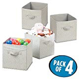 mDesign Fabric Storage Organizer Cube for Nursery to Hold Baby Clothes, Toys, Stuffed Animals - Pack of 4, Taupe/Natural