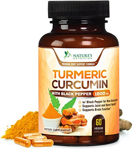 Turmeric Curcumin Max Potency 95% Curcuminoids 1800mg with Bioperine Black Pepper for Best Absorption, Anti-Inflammatory Joint Relief, Turmeric Supplement Pills by Natures Nutrition - 60 Capsules