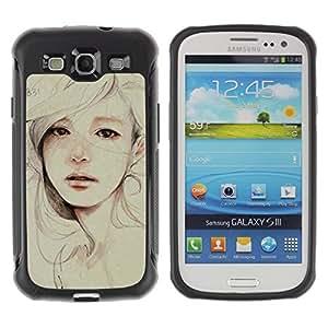 Paccase / Suave TPU GEL Caso Carcasa de Protección Funda para - Painting Sad Depression Woman - Samsung Galaxy S3 I9300