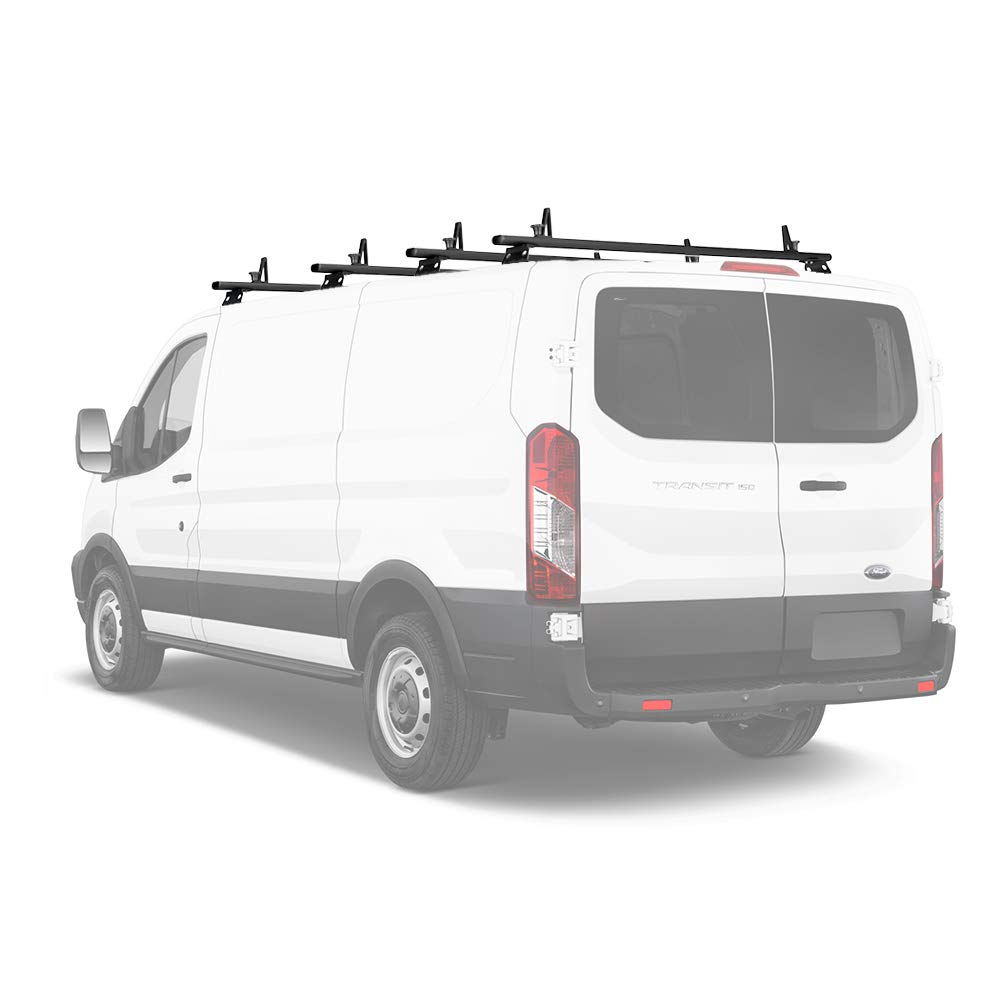 AA-Racks Model AX312-TR Transit 2015-On Aluminum 3 Bar Van Roof Rack System Ladder Stopper Black