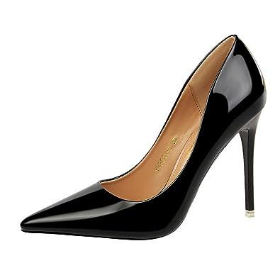 MONAcwe Hochhackige Schuhe Lady Sexy Tipped Nackt mit Slip-in Metallic Kleid Kleid Schuhe mit Absätzen, Schwarz, 36