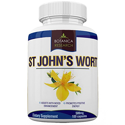 St John's Wort Extract Supplement: 500mg Vitamin Herb For Mood, Serotonin, Dopamine, and Anxiety Relief Support. Helps ease symptoms of Stress, Sadness, Seasonal Mild Depression Disorder Saint John Wort Compliments Mindfullness, Meditation, Positive Mental Health and other Natural Remedies - 100 Capsule Pills by Botanica Research