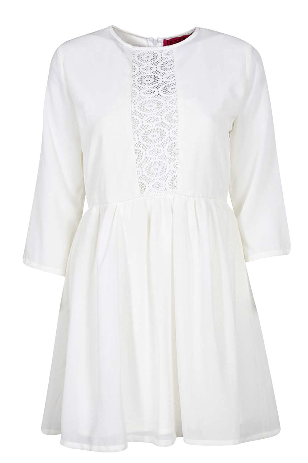 81c17f67e5c4a Womens Albany Lace Insert Woven Smock Dress - Cream - 12: Amazon.co.uk:  Clothing