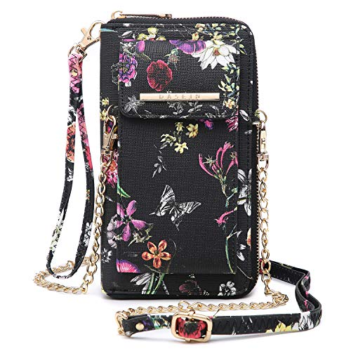 Chain Print Wallet - Cellphone Wallet Purse Phone Pouch Wristlet Clutch Crossbody Shoulder Bag - 12 Slots (Black Flower Print)