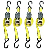 Ratchet Tie Down Strap - 4 Pack - 1 Inch - 15 Feet - 500 LBS Working Load - 1500 LB Break Strength - Cam buckle Alternative - Cargo Straps Perfect for Moving Appliances, Lawn Equipment, Motorcycle, ATV by Everest