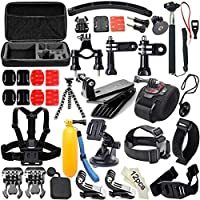 Dailyfun 50-in-1 Accessories Kit for GoPro Hero 7 6 5 4 3+ 3 2 1 Hero Session 5 Sports Accessories Kit Action Motion Camera Accessories Compatible with yi SJ4000
