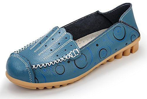 Driving Shoes Flats Casual Labato Womens Blue Slip ONS Loafers Leather 1xqxY8Hwa