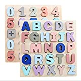 Number and Alphabet Puzzle Wooden 2 Set for Toddler with Mild Macaron Color Preschool Learning Game Toy Sorting and Counting Montessori Education Cognitive Training Tool Kid Age 3 4 5 6 Gift for Kid