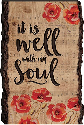 It is Well with My Soul Engraved Sheet Music 36 x 24 Rustic Wood Bark Edge Wall Art Sign