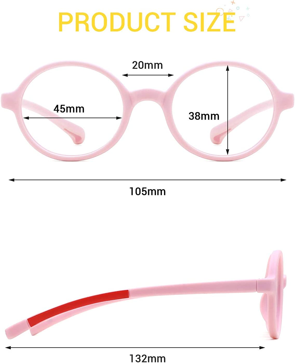 modesoda Kids Round Eyeglasses,Rubber Flexible Safety Glasses Clear Lens for Boy Girls