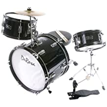 De Rosa DRM316-BK Junior 3-Piece 16-Inch  Drum Set with Chair, Black