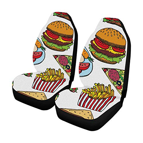 (INTERESTPRINT Hot Dog with One Sausage Burger Sandwich Tacos Popcorn Chips French Fries Pizza Car Seat Cover Front Seats Only Full Set of 2, Car Front Seat Cushion Fit Car, Truck, SUV or Van)
