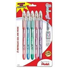 Pentel Sunburst Metallic Gel Pen, Medium Line, Permanent, Assorted Ink, 5 Pack (K908MBP5M) by Pentel