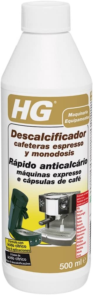 HG - Descalcificador para maquinas de cafe expreso, 500 ml: Amazon ...