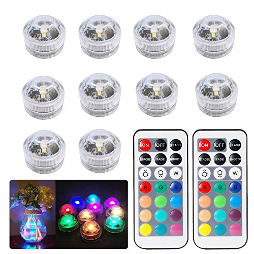 Remote Pond - ZXX 10x Submersible LED Lights, Multicolor Waterproof Bath Underwater Tea Lights/Mood Lights with 2 IR Remote Control for Vase,Fish Tank,Pond,Pool,Bathtub,Aquarium and Party/Floral Decoration