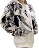 Aishang Women's Plus Black White Gray Mixed Color Faux Fox Fur Coat Cardigan