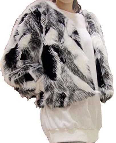 Aishang Women's Plus Black White Gray Mixed Color Faux Fox Fur Coat Cardigan by Aishang