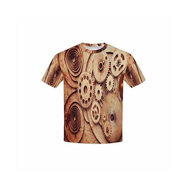 INTERESTPRINT Kid's T-Shirts Steampunk Background from Mechanical Clocks Details (XS-XL) 3
