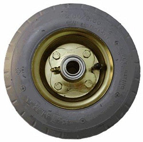 8'' Grey Brass Plated Pneumatic Wheel, 3/4'' Ball Bearings, 3-3/16'' Hub