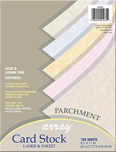Pacon Card Stock, Parchment Assortment, 5 Colors,  8-1/2