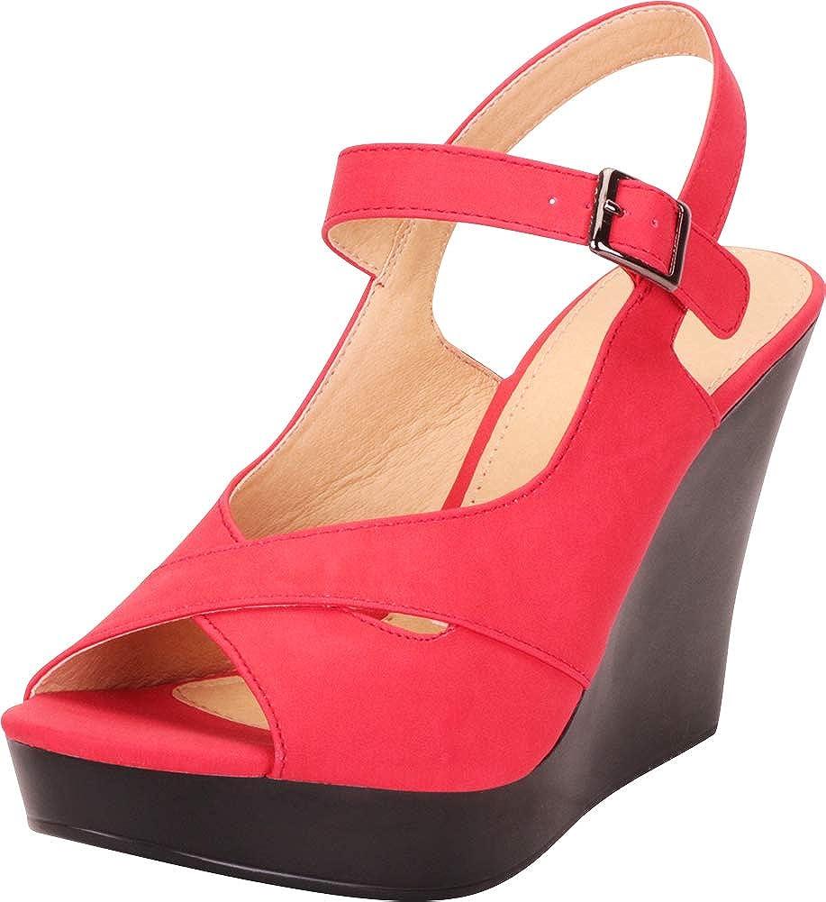 Red Nbpu Cambridge Select Women's Peep Toe Crisscross Strappy Chunky Platform Wedge Sandal
