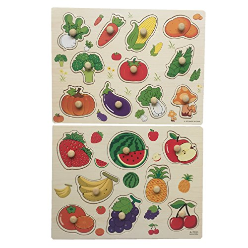 Home Learning Preschool Early Educational Development Colorful Fruit and Vegetables Wooden Peg Puzzle Jigsaw Bundle Shape Toys and Games for Age 3-7 Years Old Child Children Boys Girls