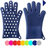 Finally! Heavy-Duty Women's Silicone Oven Mitts by Love This Kitchen   2 Sizes Available in 9 Colors   Heat Resistant Gloves For Her Cooking, Baking & Barbecue Needs (1 Pair, M/L, Blue)