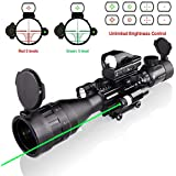 Hunting 4-16x50AO Rifle Scope Combo Dual Illuminated with Green Laser Sight 4 Holographic Reticle Red Dot for Rail Mount