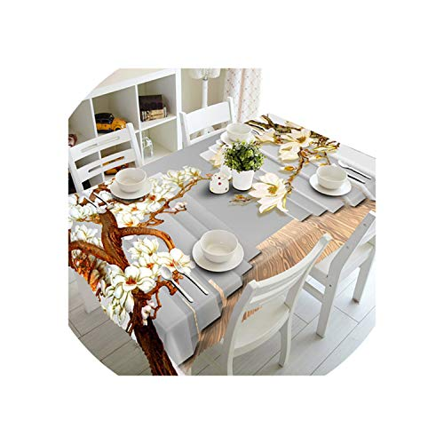 Tablecloth WallFlower Waterproof Thicken Rectangular and Round Table Cloth for Wedding,I,140 X ()