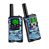 Walkie Talkies for Kids, Wellcows 22 Channel FRS/GMRS 2 Way Radio (up to 3.7 Miles) UHF Hand-held Kids Walkie Talkies with Back-Lit LCD Screen, Toys for 5 6 7 8+ Old Boys and Girls as Gift(New Blue)