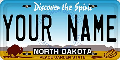 BleuReign(TM) Personalized Custom Name North Dakota State Car Vehicle License Plate Auto Tag (ALL STATES AVAILABLE) ()