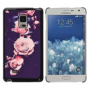 Rose Vignette rosa pétalo de la flor Negro - Metal de aluminio y de plástico duro Caja del teléfono - Negro - Samsung Galaxy Mega 5.8