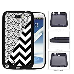 Black & White Floral Damask Pattern with Black/White Chevron Pattern Samsung Galaxy Note II 2 N7100 Rubber Silicone TPU Cell Phone Case