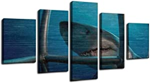 cage diving great white shark stock pictures, royalty free photos Framed Art Wall Painting Pictures Canvas Prints Gallery Wrapped Poster Home Office Living Room Wall Decor Ready to Hang 5 Panel