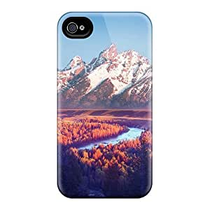 Durable Defender Case For Iphone 4/4s Tpu Cover(pink Hue On Snake River The Gr Tetons)
