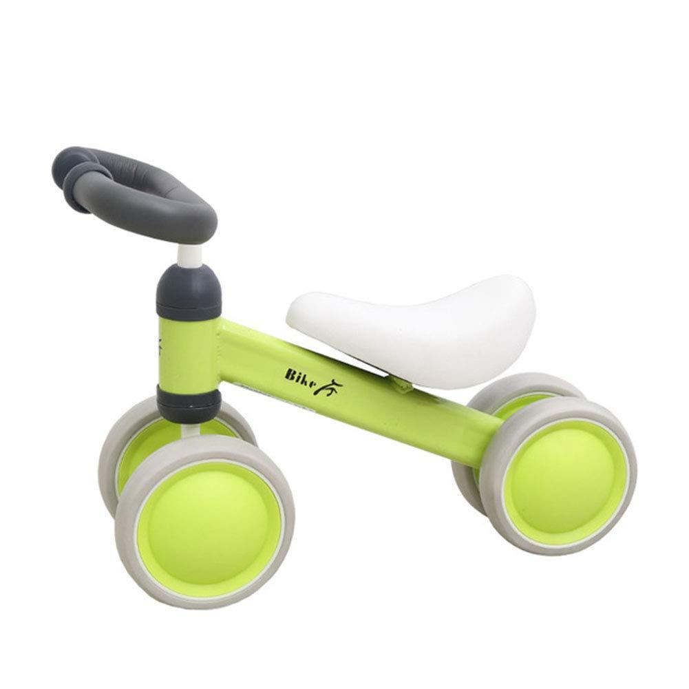 YANWE Bebé Deslizante Paseo En Bicicleta En Bicicletas De Juguete Bicicleta Niños Sin Pedal Pedal Cuatro Ruedas 1 A 3 Años,Green