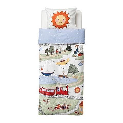 Ikea Utelek TWIN Child Children Duvet Cover Set Train Sun (Ikea Twin Bedding)