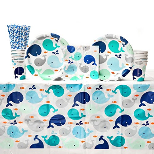 Lil' Spout Blue Baby Shower Party Supplies Pack for 16 Guests | Straws, Dinner Plates, Luncheon Napkins, Cups, and Table Cover | Cute Baby Shower Party Supplies Featuring Whale Baby Shower Plates! ()