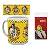 Set: Harry Potter, Hufflepuff Photo Coffee Mug (4x3 inches) and 1 Harry Potter, Keychain Keyring For Fans (2x2 inches)