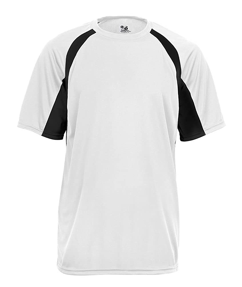 Badger Sport Youth Unisex B-Core Hook S//S Performance Tees Large White//Black