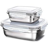 GA Homefavor Fiambreras Caja de Almuerzo de Acero Inoxidable para Alimentos Ensalada de Frutas Recipiente (Blanco…