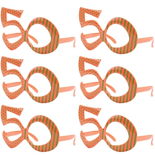 Ocean Line 50th Birthday Glasses - Number Neon Frame, Party Favors, Wedding, Funny Costume Sunglasses, Novelty Eyewear Celebration Decoration for Kids and Adults 6 Pack (50)]()